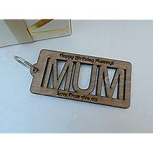 Llavero de madera Mum personalizado, Cut Out. Día de la Madre, cumpleaños, etc.