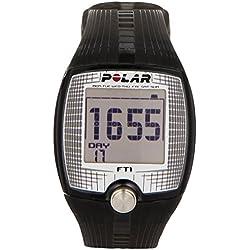 Polar FT1 - Reloj con pulsómetro y pantalla grande de fácil lectura para inicio en fitness (negro/ plata)