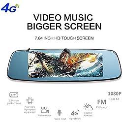 """4G Smart Car DVR, espejo retrovisor Dash Cam grabadora de conducción de automóviles 7.84 """"Android Dual lente de cámara del coche 1080P Bluetooth Backup Cam con G-Sensor Loop Recording"""
