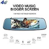 4G Smart Car DVR, rétroviseur Dash Cam enregistreur de conduite de voiture 7.84 'Android Dual Lens caméra de voiture Caméra de recul 1080P Bluetooth avec enregistrement en boucle G-Sensor