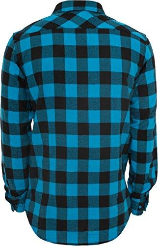 Urban Classics Checked Flanell Shirt, Holzfällerhemd für Herren und Jungen, Flanellhemd langarm mit aufgesetzten Brusttaschen blk/tur