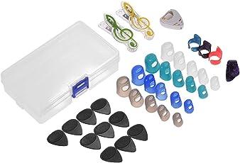 Muslady Gitarrenzubehör Kit Enthält 20 Stück Silikon Gitarre Fingerschutz + 10 Stück Plektren + 4 Stück Daumen & Finger Picks + Holder Auswählen + 2 Stück mit Kunststoff zum Akustische Gitarre