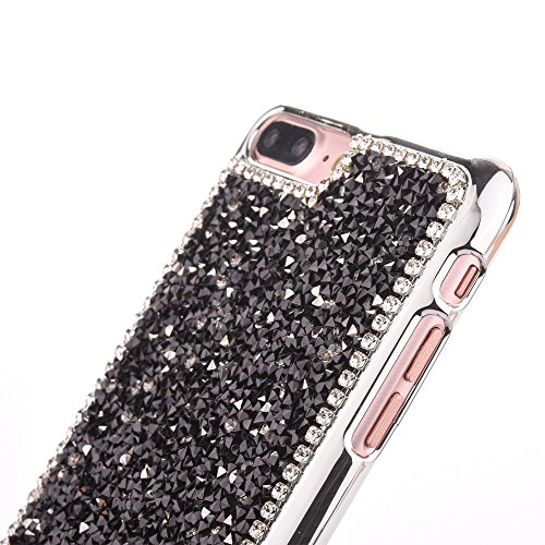 """iPhone 7Plus Hülle, iPhone 7Plus Kristall Motiv Handytasche, Bling Glitzer Diamant Series CLTPY 3D Kreativ Überzug Hartplastik Schutzfall für 5.5"""" Apple iPhone 7Plus (Nicht iPhone 7) + 1 x Stift - Sil Schwarz"""