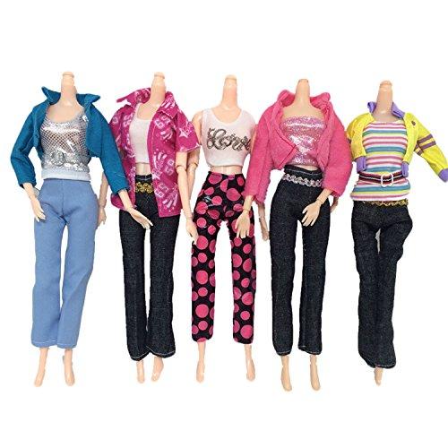 ,Beetest 5 Satz Mode Mädchen Puppe Spielzeug Freizeitkleidung Kleidung Outfits Tops Und Hosen Zubehör für Barbie Spielzeug Kinder Mädchen Geburtstag Weihnachtsgeschenk (Barbie Geburtstags-outfit)