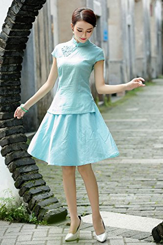 ACVIP Damen Reine Farbe Kurze Arme Stehtkragen Klassisch Cheongsam Bluse Hellblau