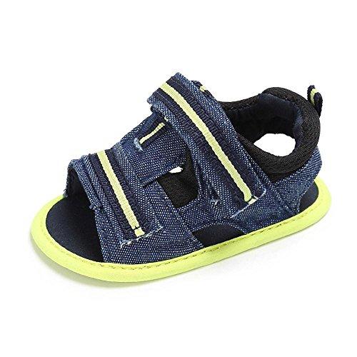 Babyschuhe Offene Sandalen mit Klettverschluss Baby Jungen Mädchen Kleinkind Schuhe Sommer Cotton Anti-Rutsch Weiche Sohle Outdoor Sport Laufschuhe Sneaker für 0-18 Monate (6-12 Monate, Grün)