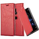 Cadorabo Hülle für Sony Xperia XZ2 - Hülle in Apfel ROT - Handyhülle mit Magnetverschluss, Standfunktion & Kartenfach - Case Cover Schutzhülle Etui Tasche Book Klapp Style