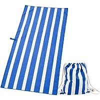 Exerz Toallas de Microfibra y Bolsas con Cordón – Viajeras Extra Grandes 160 x 80 cm / Toallas para Deportes Set de 2 piezas de Toallas con Rayas para la Playa – Gimnasio – Acampar – Yoga – Azul