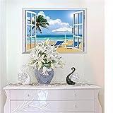 Wandtattoos WandbilderGefälschte Fensterwandaufkleber Schlafzimmer warme romantische Nachttischwandaufkleber malende Ideen Haus Wohnzimmer Hintergrund Aufkleberraumdekoration Aufkleber 50 * 70CM