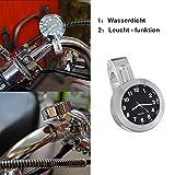 Universal Motorraduhr Motorrad Lenker Uhr Leichte wasserdicht schwarz weiss Aluminium 7/8 ' (22 /25mm) Ziffernblatt Fahrrad Roller schwarz siber (siber)