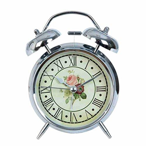 Clayre & Eef 6ac0012Reloj mesa Reloj despertador plateado Flores aprox. 8X 5X 12cm