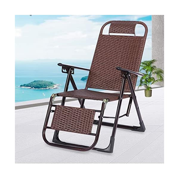MRZZ Wicker Chair Recliner,folding Lunch Break Lazy Office Nap Bed Outdoor Beach Chair Adult Siesta Backrest Lounge Chair Balcony Garden Office. (Color : Bronze)  No need to install and retract freely, 2 seconds fast folding storage, storage does not occupy land. Bold steel pipe, strong bearing capacity, high pressure resistance, strong toughness, not easy to deform. Artificial double-sided rattan, cool and breathable sunscreen and rainproof. 2