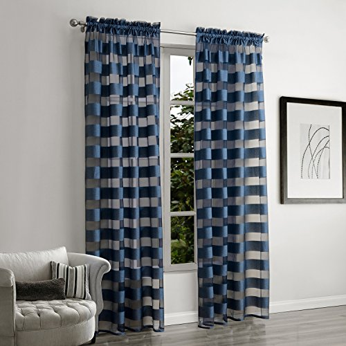 amazonde weare home karo muster stoffdruck polyester schlaufen blau gardine gardinegaze vorhang - Vorhang Schlafzimmer Blau
