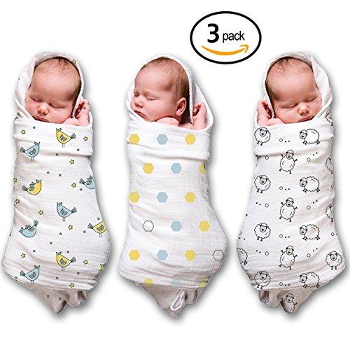 Musselin Wickeltücher für A Baby Boy & Girl (3 Pack) 100 % Baumwolle, größe 119,4 x 119,4 cm (Sheet Set Boy Crib)