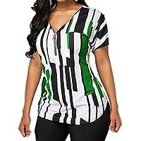 CRYYU Women Print Zip Up Summer V-Neck Short Sleeve Top Blouse T-Shirt Green 5XL