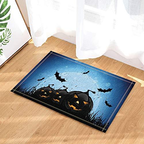 fdswdfg221 Happy Halloween Decor Horrible Kürbis mit Fledermaus Bad Teppiche Rutschfeste Fußmatte Boden Eingänge Indoor Haustürmatte Kinder Badmatte Badzubehör