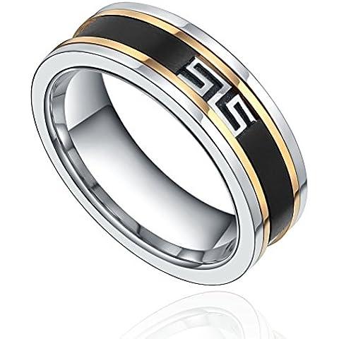 IP Maze, in acciaio INOX, motivo: Great Wall-Anello per matrimonio a fascia, argento e oro, nero