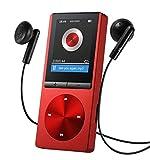 """OMORC 130AR - Lettore MP3 Player Portatile con Fascia Sportiva Lettore MP3 per Correre, 8GB Schermo 1.8"""" Radio FM Registrazione, 24 Lingue, Lega di Alluminio. Rosso Splendido"""