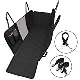 OMORC [Upgraded Version] Dog Seat Cover for Cars with Seatbelt, Heavy Duty & Waterproof Dog Car Hammock with a Storage Pocket and Mesh Viewing Window (137×147 cm)