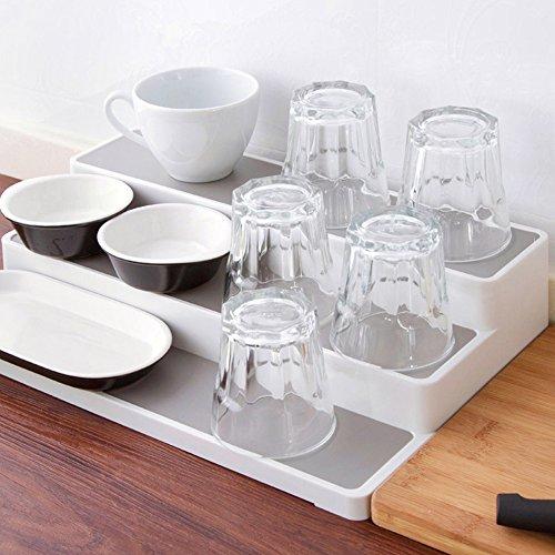 STORE Küche Gewürzregal Organizer 3 Etagen Freistehend Gewürz-Ständer für Küchenwand, Schrank, Kabinett oder Arbeitsplatte (Weiß) (Kunststoff 3-tier-kuchen-stand)