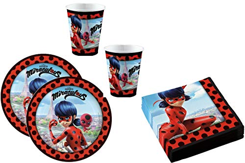 52-teiliges Party-Set Miraculous Ladybug - Teller Becher Servietten für 16 Kinder