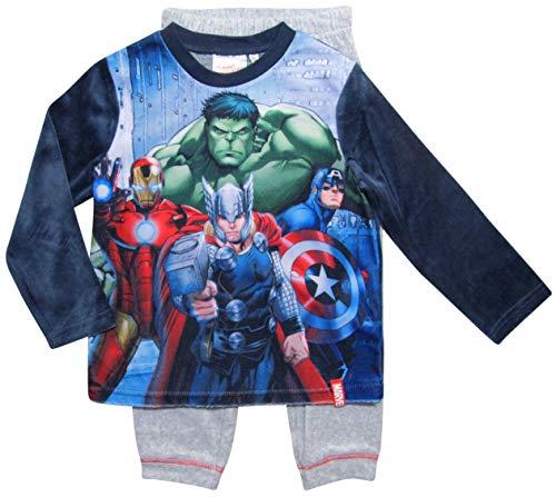 Avengers Schlafanzug Jungen Marvel Rundhalsausschnitt Pyjama (Blau-Grau, 140)