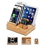 iCozzier Bambus Ladestation iWatch Ständer für mehrere Geräte/ Kabel-Organizer für Apple Watch, iPhone, iPad, iWatch Halterung/ Tisch-Organizer für Smartphone und Tablets