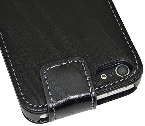 iPhone SE | iPhone 5S | Original Suncase Flip-Style Ledertasche *ECHT LEDER* Tasche in schwarz Wash Schwarz