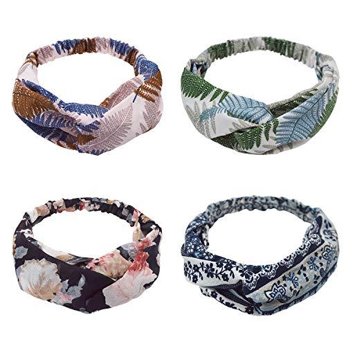 UPhitnis 4 Stück Stirnband Damen Mädchen | Elastische Blume Gedruckt Stirnbänder Haarband für Frühling Sommer | Cross Kopfband für Alltag Yoga Sport Fitness oder Mode -