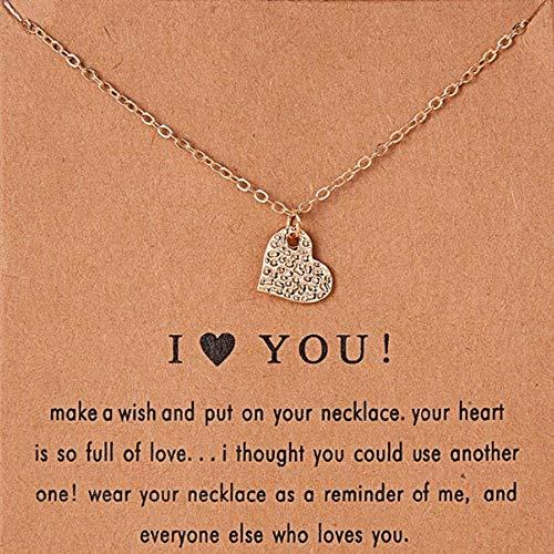 YDTE01 Schlüsselbein Kette Halskette Damen Schmuck Shiny Heart-Shaped Gold Anhänger Halskette Geburtstagsgeschenk, goldene Farbe (Anhänger Heart Shaped)
