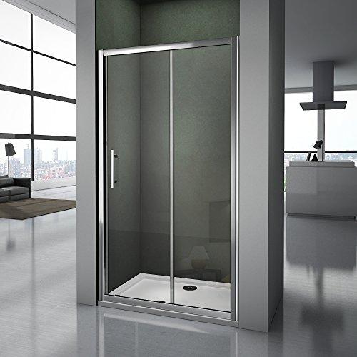 Box Doccia 110x185 per nicchia con porta scorrevole in cristallo temperato trasparente