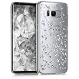 kwmobile Crystal Case Hülle für Samsung Galaxy S8 aus TPU Silikon mit Flocken Design - Schutzhülle Cover klar in Silber Transparent