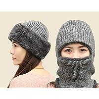 VEA-DE Unisex Gestrickte Plüsch Warme Maske Hut