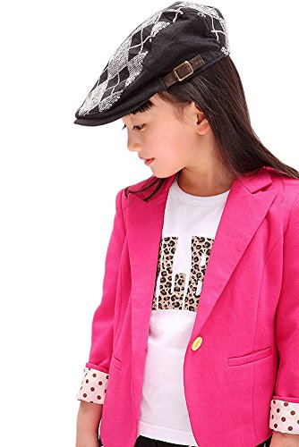 Girls Cotton Outerwear Fit Casual Jackets Suit Blazers Candy (3-4Y, pink)