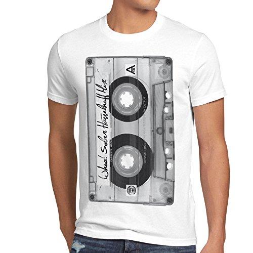 style3 DJ Casete Camiseta para hombre T-Shirt tape años 80 cassette foto, Talla:S, Color:Blanco