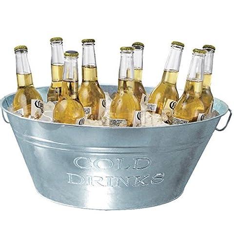 24L GALVANISED STEEL OVAL PARTY TUB BEVERAGE DRINK TUB BEER BUCKET