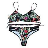 Ba Zha Hei Frauen Böhmen Push-Up gepolsterte BH Beach Bikini Set Badeanzug Bademode bandage Tankini Beachwer High Waist Hohe Taille Shorts Oberteil Tops und Bottoms Set (Grün, L)