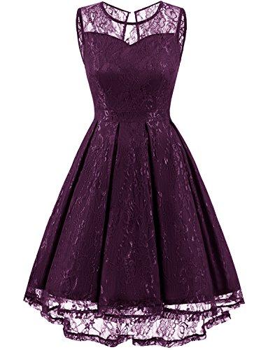 Gardenwed Damen Kleid Retro Ärmellos Kurz Brautjungfern Kleid Spitzenkleid Abendkleider CocktailKleid Partykleid Grape 3XL