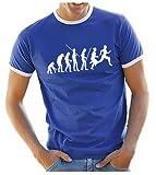 Coole-Fun-T-Shirts T-Shirt LAUFEN Joggen Evolution ! RINGER, blau, L, 10682_blau_RI_GR.L