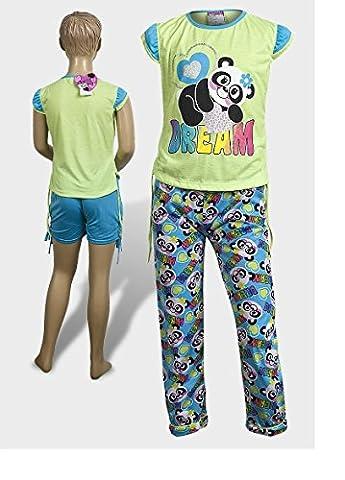 SWEET & SASSY - Ensemble de pyjama - Fille multicolore Panda (Green & Sky Blue) 6 ans