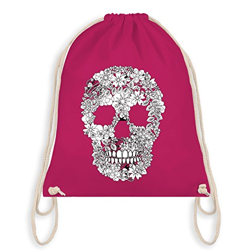 Rockabilly - Totenkopf Blumen Skull Flowers - Unisize - Fuchsia - WM110 - Turnbeutel & Gym Bag