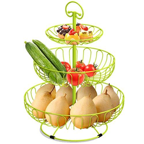 Obstkörbe 3 Tier Obstkorb Stand, Obst Etagere - Obstkorb Kealive Circular Drahtkorb kann als Ablagekorb, Brotkorb und Obstkorb für Wohnzimmer verwendet Werden -0 (Farbe : Green) -