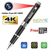 Inovics Spy 4K Pen Camera with 1920px HD Video Audio Recording 12 Mega Pixel Lens with 32 GB Memory Card for Long Time Recording, Hidden No Light Flashes While Recording for Home/shop/meeting (Black)