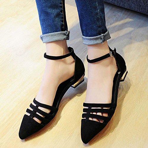 L&Y Donne Punta di punta della cinghia della cinghia della caviglia Summer Sandali della nuova pelle di pecora piccola del tacco basso dell'inarcamento Nero