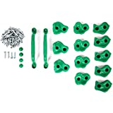 Powerfly Powerfly Kids Rock Wall Climbing Holds - Set Of 2 Safety H&les & 12 Screw On Green Climbing Jugs - Swing Playset Playground Equipment Accessories - Indoor Or Outdoor Use - Mounting Hardware Included