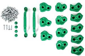 Powerfly Prese Arrampicata Set per Bambini - 12 Pietre in 3 Taglie (Piccola Media Grande) e 2 Maniglie di Sicurezza - Appigli per Parete Da Arrampicata - Interno ed Esterno - Kit di Montaggio Incluso