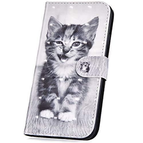 JAWSEU Kompatibel mit iPhone 6S,iPhone 6 Hülle,Handyhülle iPhone 6/6S Tasche Leder Flip Case Brieftasche Etui Schutzhülle 3D Effekt Gemalt Glänzend PU Leder Hülle Klapphülle Wallet Case,Katze -