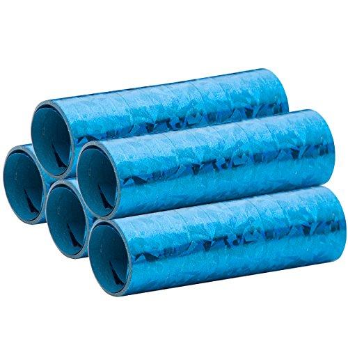 Blaue Metallic Luftschlangen im 5er Sparpack - 5 Rollen mit je 18 holografisch-glitzernden Luftschlangen - für Karneval, Fasching, Geburtstag, Silvester, Dekoration - PARTYMARTY GMBH®
