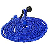 Picture Of 100FT / 150FT / 200FT Magic Stretch Flexible Expandable 3 x Expanding Garden Hose Pipe Natural Triple Layer Light Weight Non Kink with 7 Setting Professional Water Spray Nozzle (100FT)