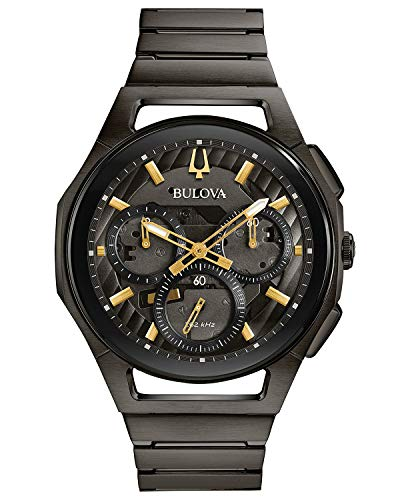 Bulova 98A206 Curv Men's Watch Dark Grey Ip 44mm Dark Grey Ip Steel